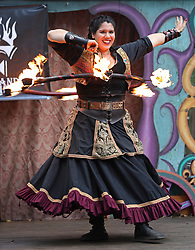 August 26, 2017 - Shakopee, Minn, USA - United States - Katy Solko performed with a flaming hula hoop during the Fandazzi Fire show. ]  Shari L. Gross • shari.gross@startribune.com       'Once Upon a Time' was the weekend theme on Saturday, August 26, 2017 during the 47th season of the Renaissance Festival in Shakopee, Minn. (Credit Image: © Shari L. Gross/Minneapolis Star Tribune via ZUMA Wire)