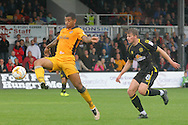 Newport County's Joss Labadie (l) gets past Crewe's James Jones into the box. Skybet EFL league two match, Newport county v Crewe Alexandra at Rodney Parade in Newport, South Wales on Saturday 20th August 2016.<br /> pic by David Richards, Andrew Orchard sports photography.