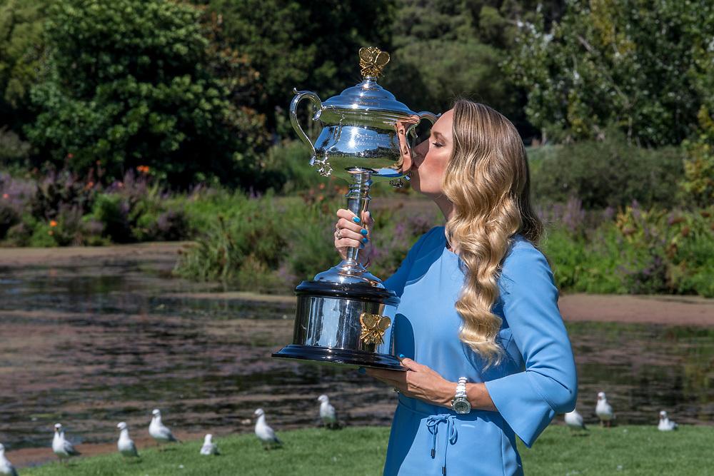 Caroline Wozniacki of Denmark after winning the 2018 Australian Open at Rod Laver Arena in Melbourne, Australia on Sunday morning January 28, 2018.<br /> (Ben Solomon/Tennis Australia)