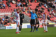 Doncaster Rovers goalkeeper Marko Marosi (13) receives red card and is sent off during the EFL Sky Bet League 1 match between Doncaster Rovers and Portsmouth at the Keepmoat Stadium, Doncaster, England on 25 August 2018.Photo by Ian Lyall.
