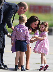 The Duke and Duchess of Cambridge, Prince George and Princess Charlotte depart Germany from Hamburg Airport, at the end of their tour of Germany, on the 21st July 2017. 21 Jul 2017 Pictured: Prince William, Duke of Cambridge, Prince George, Catherine, Duchess of Cambridge, Kate Middleton, Princess Charlotte. Photo credit: James Whatling / MEGA TheMegaAgency.com +1 888 505 6342