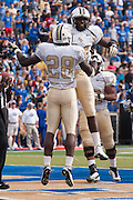 Dec 1, 2012; Tulsa, Ok, USA; University of Central Florida Knights wide receiver Breshad Perriman (81) and running back Latavius Murray (28) react to a touchdown during a game against the Tulsa Hurricanes at Skelly Field at H.A. Chapman Stadium. Tulsa defeated UCF 33-27 in overtime to win the CUSA Championship. Mandatory Credit: Beth Hall-USA TODAY Sports