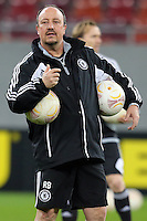 Chelsea's Spanish head coach Rafael Benitez attends a training session on March 6, 2013 at the National Arena Stadium one day before the UEFA Europa League football match against Steaua Bucharest.
