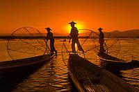Three legrowing fishermen, Inle Lake, Burma (Myanmar)