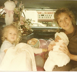 """Paris Hilton releases a photo on Instagram with the following caption: """"My mom and I taking our babies home from the hospital. \ud83d\udc76\ud83c\udffc #ThrowbackThursday"""". Photo Credit: Instagram *** No USA Distribution *** For Editorial Use Only *** Not to be Published in Books or Photo Books ***  Please note: Fees charged by the agency are for the agency's services only, and do not, nor are they intended to, convey to the user any ownership of Copyright or License in the material. The agency does not claim any ownership including but not limited to Copyright or License in the attached material. By publishing this material you expressly agree to indemnify and to hold the agency and its directors, shareholders and employees harmless from any loss, claims, damages, demands, expenses (including legal fees), or any causes of action or allegation against the agency arising out of or connected in any way with publication of the material."""