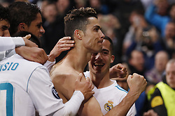 (l-r) Cristiano Ronaldo of Real Madrid, Lucas Vazquez of Real Madrid during the UEFA Champions League quarter final match between Real Madrid and Juventus FC at the Santiago Bernabeu stadium on April 11, 2018 in Madrid, Spain