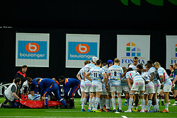 December 9, 2018 - Nanterre, Hauts de Seine, France - Racing 92 Center VIRIMI VAKATAWA gets injured and gets out of the field on a stretcher during the third day of the Rugby Champions Cup between Racing 92 and Leicester at U Arena Stadium in Nanterre - France..Racing 92 Won 36-26. (Credit Image: © Pierre Stevenin/ZUMA Wire)