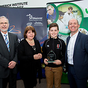 27.04.2016.          <br />  Kalin Foy and Ciara Coyle win SciFest@LIT<br /> Kalin Foy and Ciara Coyle from Colaiste Chiarain Croom to represent Limerick at Ireland's largest science competition.<br /> <br /> Glenstal Abbey School student, Ivor Larkin's project, The Effects of Microgravity on Microorganisms, won the ISTA Award. Ivor Larkin is pictured with George Porter, SciFest, Dr. Marie Walsh, LIT and Brian Aherne, Intel<br /> <br /> Of the over 110 projects exhibited at SciFest@LIT 2016, the top prize on the day went to Kalin Foy and Ciara Coyle from Colaiste Chiarain Croom for their project, 'To design and manufacture wireless trailer lights'. The runner-up prize went to a team from John the Baptist Community School, Hospital with their project on 'Educating the Youth of Ireland about Farm Safety'.  Picture: Alan Place