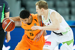 Leon Williams of Netherlands vs Jaka Blazic of Slovenia during basketball match between Slovenia vs Netherlands at Day 4 in Group C of FIBA Europe Eurobasket 2015, on September 8, 2015, in Arena Zagreb, Croatia. Photo by Vid Ponikvar / Sportida