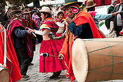 Bolivia June 2013. La Paz. Members of a traditional band perforing at an indigenous cultural event.
