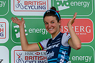 Lizzie Deignan (GBR) riding for Trek-Segafredo on the podium after Stage 2 during the OVO Energy Women's Tour 2019 at Cyclopark, Gravesend, United Kingdom on 11 June 2019.