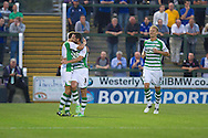 Edward Upson (left) celebrates Yeovil Town's first goal with Jamie McAllister during the Capital One Cup match, 2nd round, Yeovil Town v Birmingham City at Huish Park in Yeovil on Tuesday 27th August 2013. pic by Sophie Elbourn, Andrew Orchard sports photography,