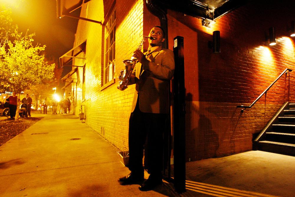 Jonathan Goforth plays his saxophone on Lady Street during Vista Lights Thursday.Columbia, SC 11/18/10 Gerry Melendez/gmelendez@thestate.com