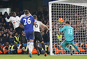 Everton defender Ramiro Funes Mori scores a late goal to put Everton back in the lead during the Barclays Premier League match between Chelsea and Everton at Stamford Bridge, London, England on 16 January 2016. Photo by Andy Walter.