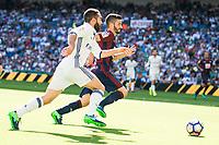 Real Madrid's player Daniel Carvajal and Eibar FC's player Gonzalo Escalante during a match of La Liga Santander at Santiago Bernabeu Stadium in Madrid. October 02, Spain. 2016. (ALTERPHOTOS/BorjaB.Hojas)