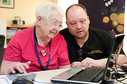 Digital Region Co-Running a series of workshops to equip the elderly with basic computer skills at Bakersfield Court sheltered housing on Longfellow Drive Rotherham - Joan Stagg with Jon Mayo Director of JMLB Genisis..21 March 2011.Images © Paul David Drabble Digital Region Co-Running a series of workshops to equip the elderly with basic computer skills at Bakersfield Court sheltered housing on Longfellow Drive Rotherham<br />