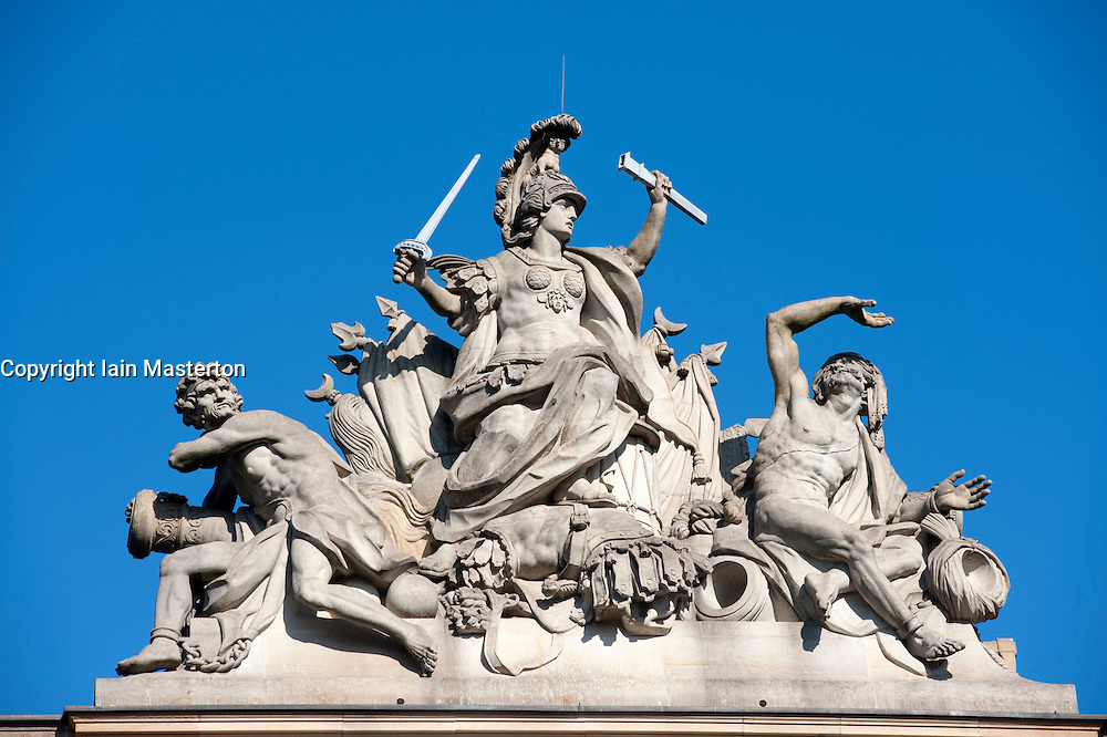 Detail of sculpture on top of German History Museum or Historisches museum in Mitte Berlin