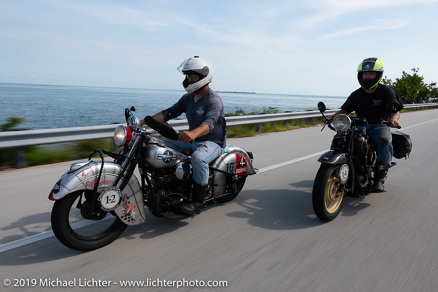 Mark Hill (L) on his 1940 Indian 4-cylinder riding through the Florida Keys with his son Loring on a 4-cylinder Henderson during the Cross Country Chase motorcycle endurance run from Sault Sainte Marie, MI to Key West, FL. (for vintage bikes from 1930-1948). Stage-10 covered just 110 miles from Miami to the finish in Key West, FL USA. Sunday, September 15, 2019. Photography ©2019 Michael Lichter.
