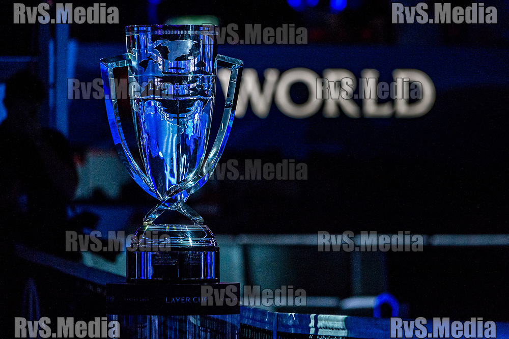 GENEVA, SWITZERLAND - SEPTEMBER 22: The Laver Cup trophy during Day 3 of the Laver Cup 2019 at Palexpo on September 20, 2019 in Geneva, Switzerland. The Laver Cup will see six players from the rest of the World competing against their counterparts from Europe. Team World is captained by John McEnroe and Team Europe is captained by Bjorn Borg. The tournament runs from September 20-22. (Photo by Robert Hradil/RvS.Media)