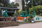 Sydney, Australia. Monday 4th May 2020. Metro Cafe and Bar open for take away only, in Hyde Park ,the central business district of Sydney. The new rules allow groups of two adults and their children to visit other households. Social distancing is still very much in place due to the COVID-19 pandemic.