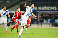 ATHENS, GREECE - OCTOBER 11: Tasos Bakasetasof Greece celebrates his goal during the UEFA Nations League group stage match between Greece and Moldova at OACA Spyros Louis on October 11, 2020 in Athens, Greece. (Photo by MB Media)