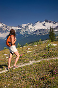 Hiking on the Harmony Lake Trail, Whistler Mountain, Whistler, British Columbia, Canada.  (model released)