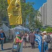 Environmental protestors demonstrate near the Embarcadero in San Francisco, California.