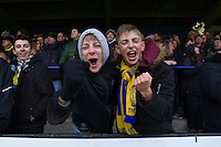 St Albans City fans during the game<br /> Photographer Craig Mercer/CameraSport<br /> <br /> The Emirates FA Cup First Round - St Albans City v Carlisle United - Sunday 6th November 2016 - Clarence Park - St Albans<br />  <br /> World Copyright © 2016 CameraSport. All rights reserved. 43 Linden Ave. Countesthorpe. Leicester. England. LE8 5PG - Tel: +44 (0) 116 277 4147 - admin@camerasport.com - www.camerasport.com