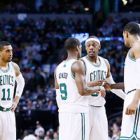 02 January 2013: Boston Celtics small forward Paul Pierce (34) talks to Boston Celtics point guard Rajon Rondo (9) next to Boston Celtics power forward Jared Sullinger (7), Boston Celtics power forward Kevin Garnett (5) and Boston Celtics shooting guard Courtney Lee (11) during the Memphis Grizzlies 93-83 victory over the Boston Celtics at the TD Garden, Boston, Massachusetts, USA.