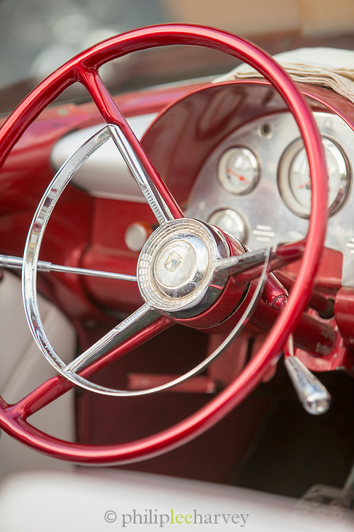 Close up of steering wheel in vintage car, Havana, Cuba