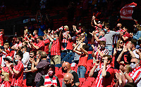 Lincoln City fans enjoy the pre-match atmosphere<br /> <br /> Photographer Chris Vaughan/CameraSport<br /> <br /> The EFL Sky Bet League One Play-Off Final - Blackpool v Lincoln City - Sunday 30th May 2021 - Wembley Stadium - London<br /> <br /> World Copyright © 2021 CameraSport. All rights reserved. 43 Linden Ave. Countesthorpe. Leicester. England. LE8 5PG - Tel: +44 (0) 116 277 4147 - admin@camerasport.com - www.camerasport.com