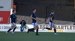 Raith Rovers Kevin Nisbet (15) celebrates after scoring their fourth and winning goal. Airdrie 3 v 4 Raith Rovers, Scottish Football League Division One played 25/8/2018 at the Excelsior Stadium.
