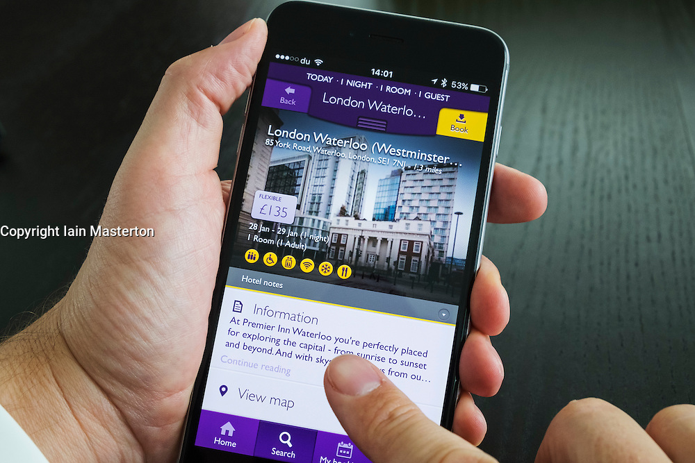 Homepage of Premier Inn hotel room booking app on iPhone 6 plus smart phone