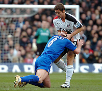 Photo: Ed Godden.<br /> Fulham v Chelsea. The Barclays Premiership. 19/03/2006.<br /> Michael Brown (R) and Frank Lampard clash with each other.