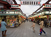 The market stalls at the Senso-ji temple, Asakusa.