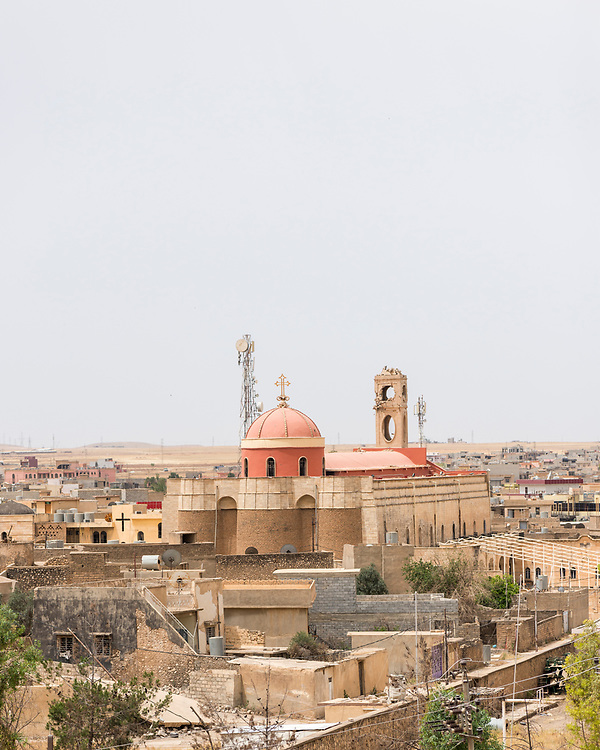 View of the Church of the Immaculate Conception, a Syriac Catholic church in the Iraqi town of Qaraqosh. Its bell tower was damaged during the ISIS occupation of the town from 2014 to 2016.  Qaraqosh, also known as Hamdaniya, is a predominately Christian town and located about 30 kilometres from Mosul.