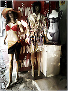 Mannequins styled in undergarments set up outside a shop in Hanoi, Vietnam, Southeast Asia