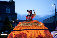 The Giant Divas & Les Tambours, from French company Transe Express, move through the Galway city centre singing operatic melodies as part of the Galway Arts Festival: Eyre Square to Spanish Arch Friday 17th July 2015. Photo credit: Doreen Kennedy
