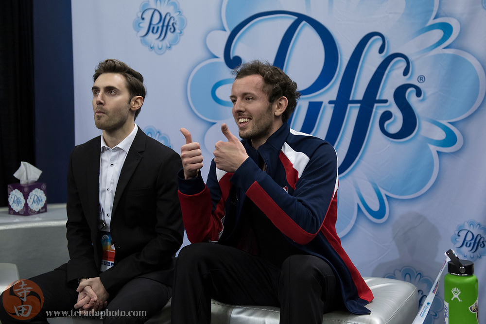 January 4, 2018; San Jose, CA, USA; Daniel Kulenkamp in the kiss and cry in the mens short program during the 2018 U.S. Figure Skating Championships at SAP Center.