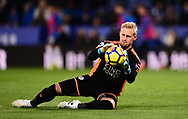 Kasper Schmeichel , the goalkeeper of Leicester city makes a save .Premier league match, Leicester City v Tottenham Hotspur at the King Power Stadium in Leicester, Leicestershire on Tuesday 28th November 2017.<br /> pic by Bradley Collyer, Andrew Orchard sports photography.