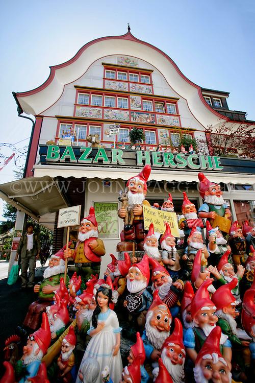 The Bazar Hersche (House Bazaar) and gnomes, Appenzell, Switzerland.