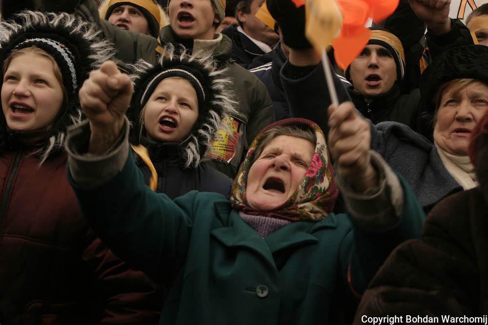 """The Orange Revolution was a series of protests and political events that took place in Ukraine from late November 2004 to January 2005, in the immediate aftermath of the run-off vote of the 2004 Ukrainian presidential election which was claimed to be marred by massive corruption, voter intimidation and direct electoral fraud. Kiev, the Ukrainian capital, was the focal point of the movement's campaign of civil resistance, with thousands of protesters demonstrating daily.Nationwide, the democratic revolution was highlighted by a series of acts of civil disobedience, sit-ins, and general strikes organised by the opposition movement.<br /> <br /> The protests were prompted by reports from several domestic and foreign election monitors as well as the widespread public perception that the results of the run-off vote of 21 November 2004 between leading candidates Viktor Yushchenko and Viktor Yanukovych were rigged by the authorities in favor of the latter.The nationwide protests succeeded when the results of the original run-off were annulled, and a revote was ordered by Ukraine's Supreme Court for 26 December 2004. Under intense scrutiny by domestic and international observers, the second run-off was declared to be """"fair and free"""". The final results showed a clear victory for Yushchenko, who received about 52% of the vote, compared to Yanukovych's 44%. Yushchenko was declared the official winner and with his inauguration on 23 January 2005 in Kiev, the Orange Revolution ended."""