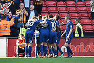 Goal - Fraizer Campbell (25) of Hull City celebrates scoring a goal to make the score 4-5 during the EFL Sky Bet Championship match between Bristol City and Hull City at Ashton Gate, Bristol, England on 21 April 2018. Picture by Graham Hunt.