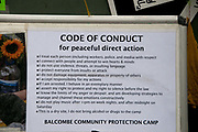 Balcombe, West Sussex. Site of Cuadrilla drilling. Demonstration against fracking 18.08.2013. A notice for protesters stting out a code of conduct for peaceful direct action.