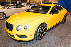 CHARLOTTE, NORTH CAROLINA - NOVEMBER 20, 2014: Bentley Continental GT V8 S coupe on display during the 2014 Charlotte International Auto Show at the Charlotte Convention Center.