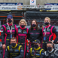 Team Iron Lynx, #85, GTE Am, top row the 3 all female drivers: Rahel Frey, Michelle Gatting and Manuella Gostner, at Le Mans 24H 2020, on 19/09/2020