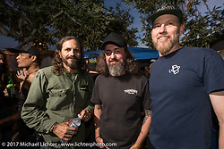 Harley-Davidson head of design Brad Richards (R) with Matt Machine at the Friday night pre-party at Cooks Corner before the start of the Born Free 9 Motorcycle Show. Costa Mesa, CA. USA. June 23, 2017. Photography ©2017 Michael Lichter.