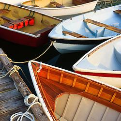Skiffs in Southwest Harbor, Maine. Near Acadia National Park.