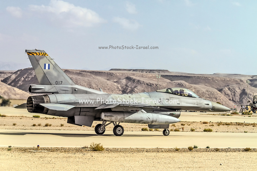 """Greek Air Force General Dynamics F-16C Block 52+ Ready for take off. Photographed at the  """"Blue-Flag"""" 2017, an international aerial training exercise hosted by the Israeli Air Force (IAF) at Ouvda airfield, Israel. November 2017"""