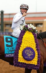 November 3, 2017 - Del Mar, California, U.S.A - Jockey FLAVIEN PRAT gives a thumbs up after he and horse Battle of Midway won the seventh race during the Breeders' Cup at the Del Mar racetrack in Del Mar on Friday. (Credit Image: © Hayne Palmour Iv/San Diego Union-Tribune via ZUMA Wire)